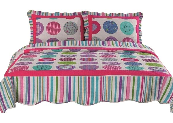 Joy Chic 100% Cotton 3 Piece Reversible Quilt Set by Home Sensation